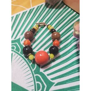 Handmade agate and glass bead orange, yellow and brown Bracelet